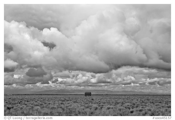 Lonely house on plain under clouds. Colorado, USA (black and white)