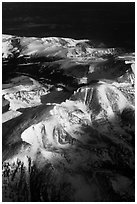 Aerial view of Rocky Mountains in winter. Colorado, USA (black and white)