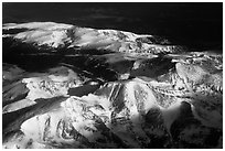 Aerial view of Rocky Mountains with snow. Colorado, USA (black and white)