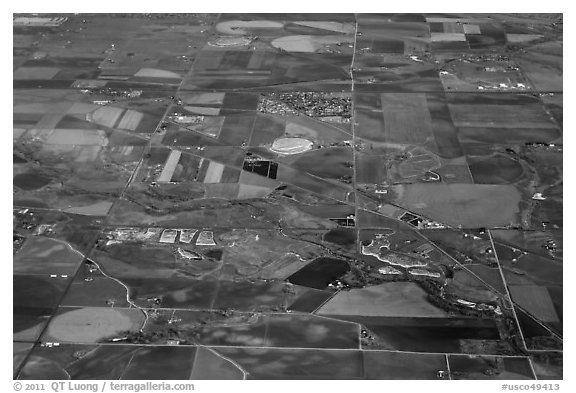 Aerial view of agricultural lands, Front Range. Colorado, USA (black and white)