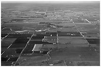 Aerial view of the Great Plains. Colorado, USA (black and white)