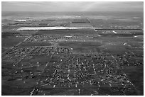 Aerial view of subdivision and plains. Colorado, USA (black and white)