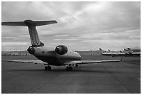 Jet taxiing, Denver International Airport. Colorado, USA (black and white)