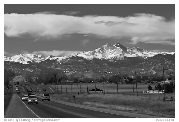 Rocky Mountains from Front Range in winter. Colorado, USA (black and white)