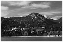 View of Estes Park across Lake Estes. Colorado, USA (black and white)