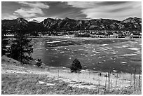 Estes Lake and Estes Park in late winter. Colorado, USA (black and white)