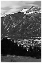 Estes Park, valley, and mountains. Colorado, USA (black and white)
