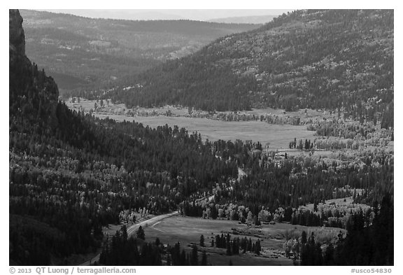 Pagosa Springs valley in autumn. Colorado, USA (black and white)