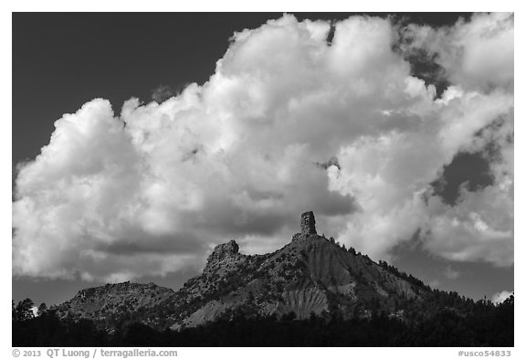 Clouds over Cimarron Range. Chimney Rock National Monument, Colorado, USA (black and white)