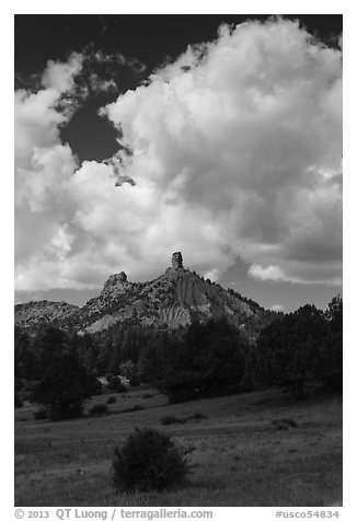 Afternoon clouds over rocks. Chimney Rock National Monument, Colorado, USA (black and white)