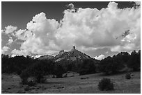 Meadows, rocks, and clouds. Chimney Rock National Monument, Colorado, USA ( black and white)
