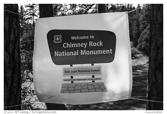 Temporary sign after new designation. Chimney Rock National Monument, Colorado, USA (black and white)