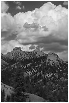 Chimney Rock and Companion Rock. Chimney Rock National Monument, Colorado, USA ( black and white)