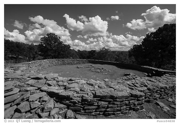 Great Kiva. Chimney Rock National Monument, Colorado, USA (black and white)