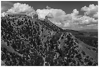Spires of Cretaceous Period. Chimney Rock National Monument, Colorado, USA ( black and white)