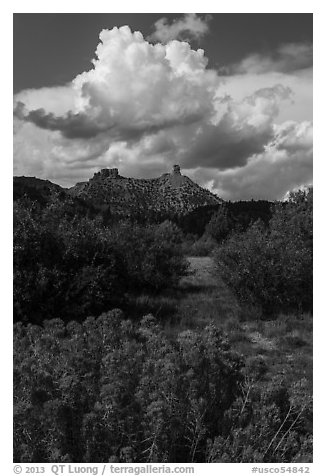 Chimney Rock landscape. Chimney Rock National Monument, Colorado, USA (black and white)