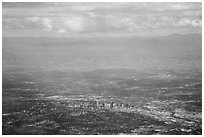 Aerial view of Denver and front range. Colorado, USA (black and white)