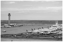 Aerial view of Denver International Airport terminal and control tower. Colorado, USA (black and white)