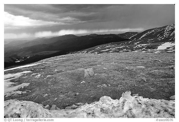 Snow and tundra on Mt Evans. Colorado, USA (black and white)