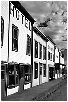 Row of old west storefronts. Colorado, USA ( black and white)