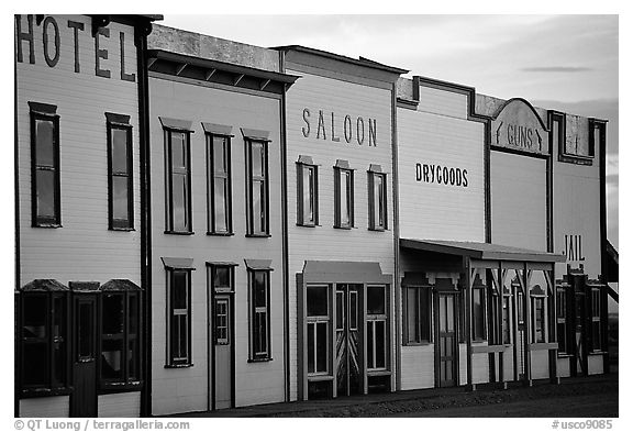 Row of old west storefronts. Colorado, USA (black and white)