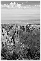 Mesas, Monument Canyon view. Colorado National Monument, Colorado, USA ( black and white)