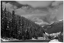Highway near the Continental Divide at Monarch Pass. Colorado, USA ( black and white)