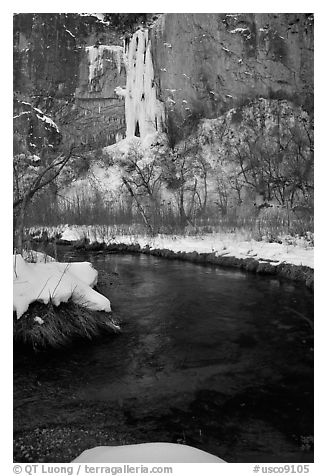 Creek and Frozen waterfall, Riffle Canyon. Colorado, USA (black and white)