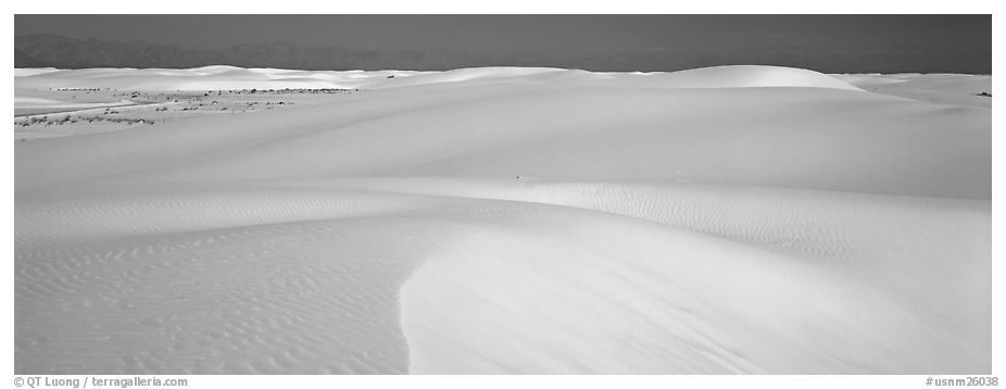 White sand dunes landscape. White Sands National Monument, New Mexico, USA (black and white)