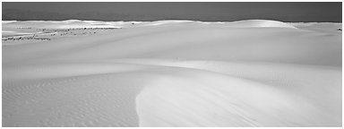White sand dunes landscape. White Sands National Monument, New Mexico, USA (Panoramic black and white)