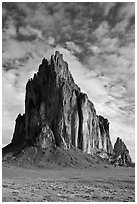 Shiprock (Tse Bit Ai). Shiprock, New Mexico, USA (black and white)