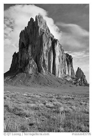 Shiprock, spring morning. Shiprock, New Mexico, USA (black and white)