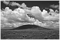 Volcanic hill and clouds. New Mexico, USA ( black and white)
