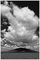 Afternoon cloud above hill. New Mexico, USA ( black and white)