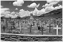 Cemetery and old church. Taos, New Mexico, USA (black and white)