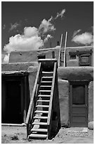 Ladder used to access upper floor of pueblo. Taos, New Mexico, USA ( black and white)