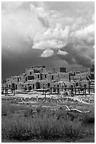Largest multistoried Pueblo structure. Taos, New Mexico, USA ( black and white)