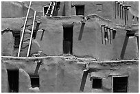 Detail of ancient earthen homes of Native Americans. Taos, New Mexico, USA ( black and white)