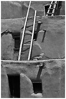Communal houses of adobe. Taos, New Mexico, USA ( black and white)