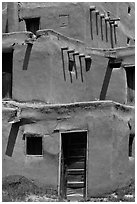 Traditional adobe construction. Taos, New Mexico, USA ( black and white)