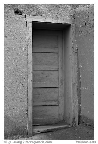 Blue door. Taos, New Mexico, USA (black and white)
