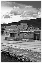 Pueblo dwellings. Taos, New Mexico, USA ( black and white)