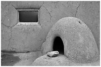 Domed oven and window. Taos, New Mexico, USA ( black and white)