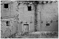 Old adobe walls. Taos, New Mexico, USA (black and white)