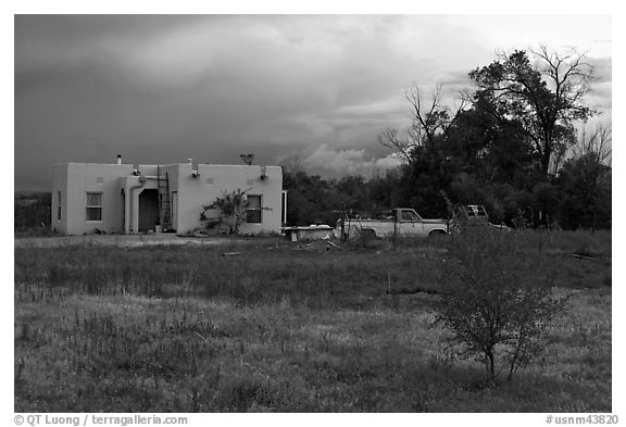 Adobe house on the reservation. Taos, New Mexico, USA (black and white)