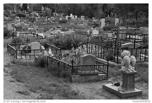 Tombs seen from the back, cemetery. Taos, New Mexico, USA (black and white)