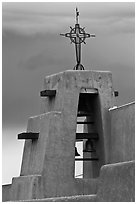 Church Bell tower in adobe style. Taos, New Mexico, USA ( black and white)