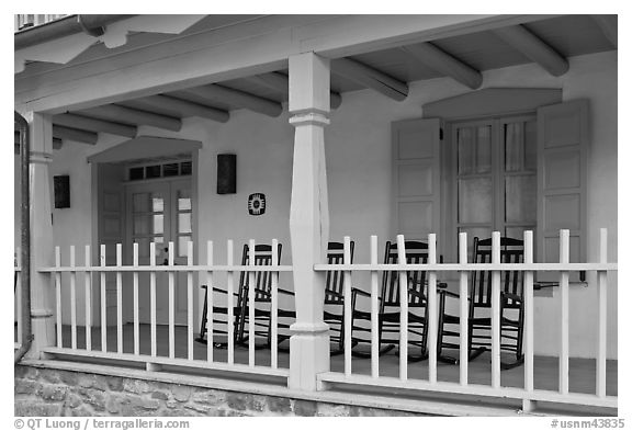 Porch of historic house. Taos, New Mexico, USA (black and white)