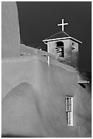 San Francisco de Asisis church under stormy sky. Taos, New Mexico, USA (black and white)