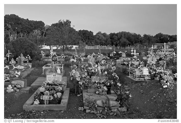 Cemetery at sunset, Rancho de Taos. Taos, New Mexico, USA (black and white)